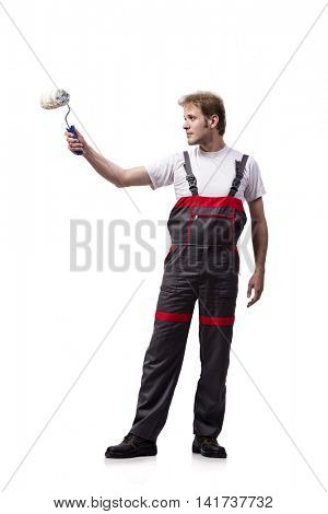 Painter with roller brush isolated on white