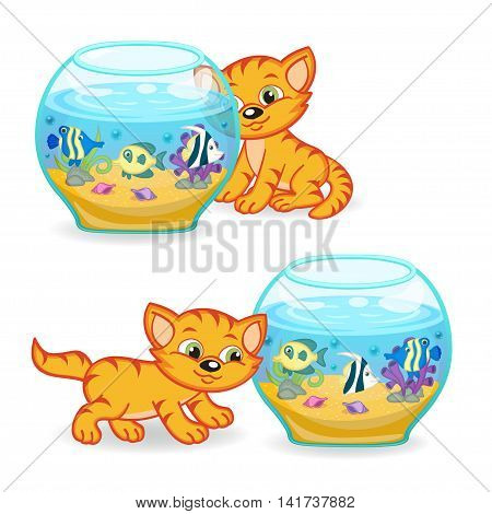 kitten walking around an aquarium with fishes - vector illustration, eps