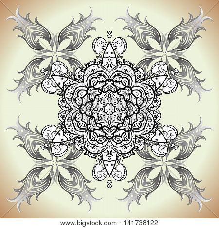Vector decorative light monochrome rosette with ethnic ornament on a dark grey and black background