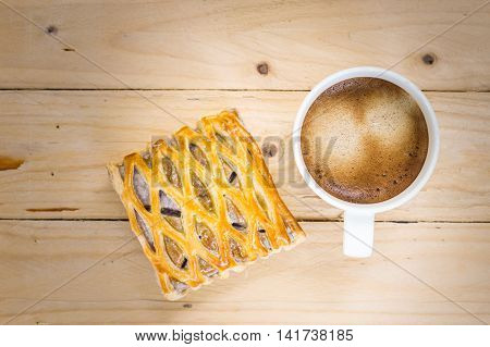 Coffee cup with taro pie in vintage