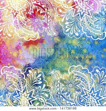 Calligraphic Vintage Pattern, Abstract Floral Outline Ornament, White Contours on Colorful Hand-Draw Watercolor Painting Background