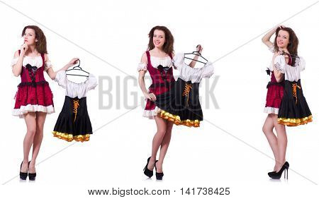 Woman with difficult choice of choosing clothing