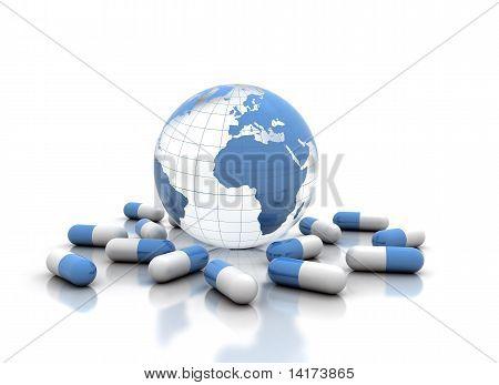 Medicine Pills And World Globe
