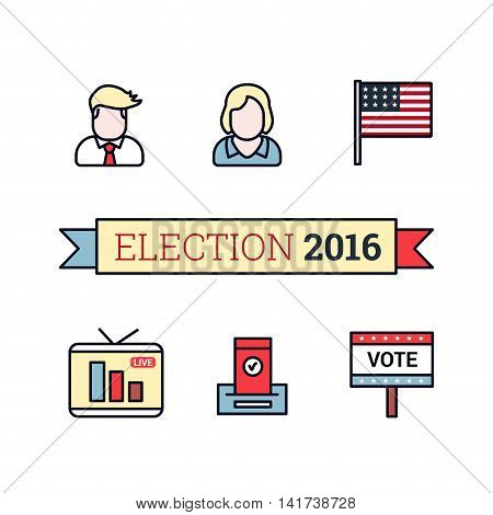 Thin line art icons set. American election 2016. US President flag live translation vote sign and ballot. Vintage flat color style. Vector illustration isolated on white