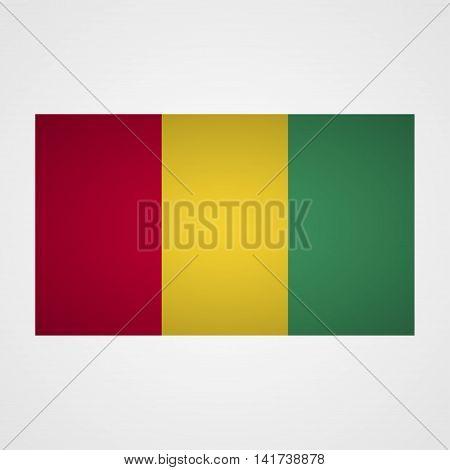 Guinea flag on a gray background. Vector illustration