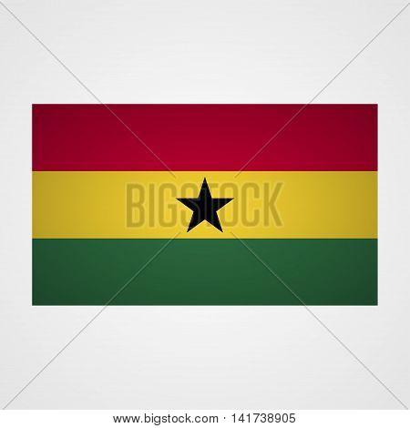 Ghana flag on a gray background. Vector illustration
