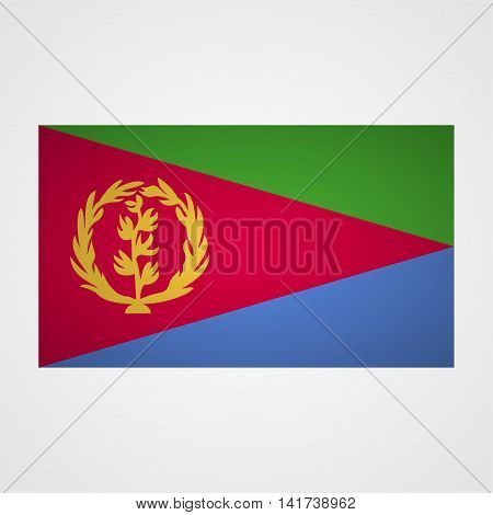 Eritrea flag on a gray background. Vector illustration