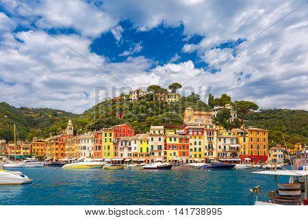 Panoramic view of picturesque harbour of Portofino fishing village on the Italian Riviera, Liguria, Italy.