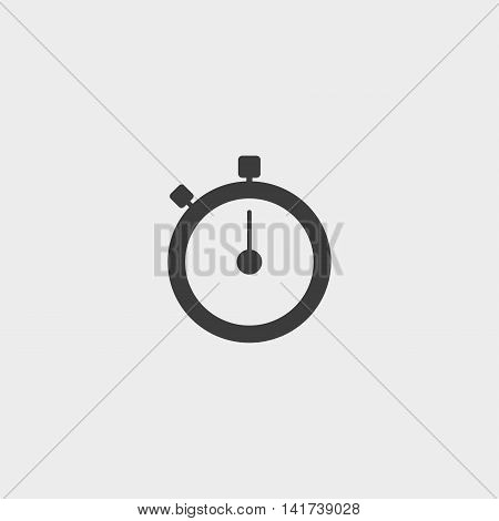 Stopwatch icon in a flat design in black color. Vector illustration eps10