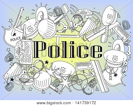 Vector line art Doodle set of cartoon characters and objects police. Coloring book