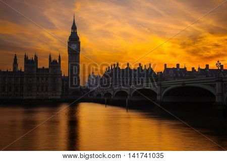 Iconic view of Westminster Bridge and Parliament at sunset.