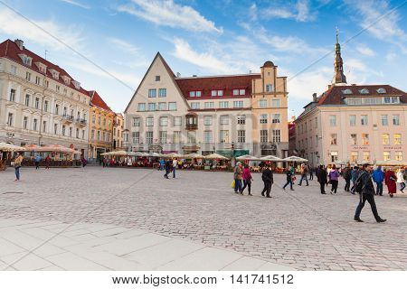 Panorama Of Town Hall Square In Tallinn
