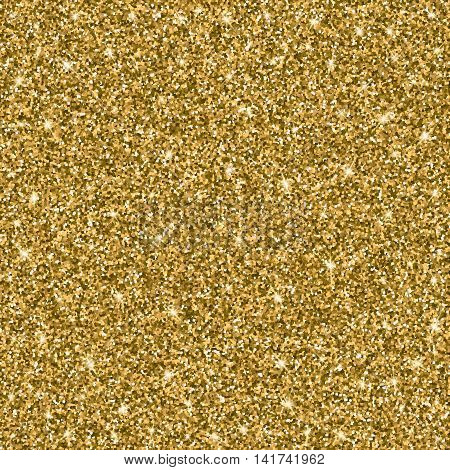 Gold glitter bright vector background. Sparkles, shiny texture with solid Golden sheen. Excellent for your greeting cards, luxury invitation, advertising, certificate