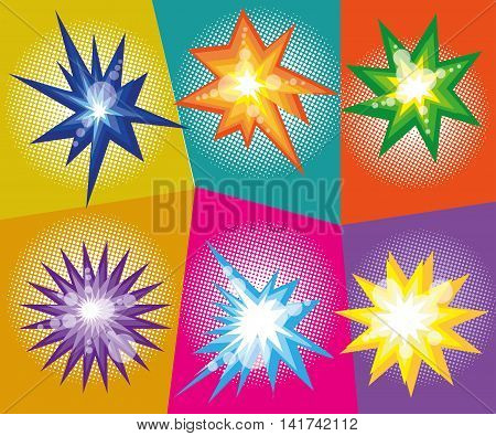 Vector set of abstract explosions in comic pop art style. Vector illustration. Design elements.