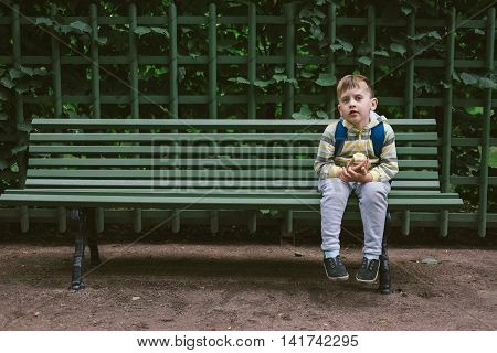 Little Boy Sitting with Apple and Waiting on Rustic Glue Bench Outdoors
