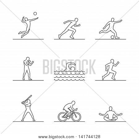 Line sports silhouettes of sportsmen. Vector icon volleyball run soccer and boxing. Linear swim baseball cycling and yoga. Open path.