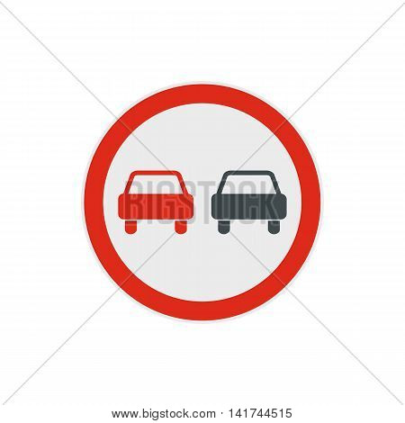 No overtaking road traffic sign icon in flat style on a white background