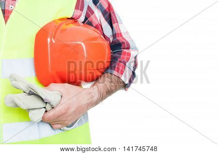 Builder With Orange Helmet And Working Gloves