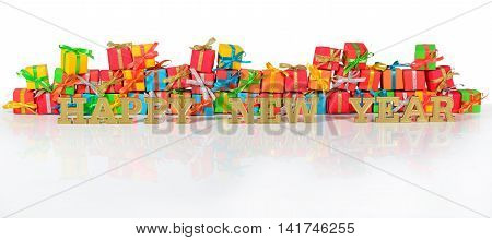 Happy New Year Golden Text And Varicolored Gifts