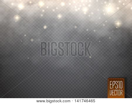 Fog or smoke with glow light isolated transparent special effect. White vector cloudiness mist or smog background. Magic template. Vector illustration