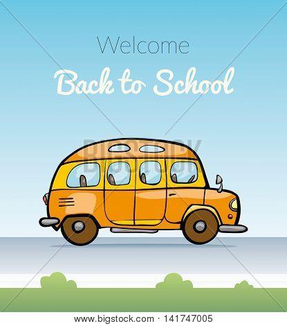 Back to School on schoolbus. Vector illustration