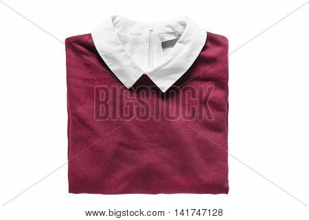 Folded pullover with white collar on white background