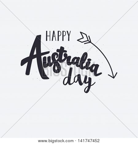 Happy Australia Day Lettering With Arrow. Vector Illustration