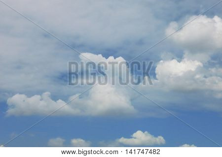 Blue sky and white cloud as bright and brilliant on day time.