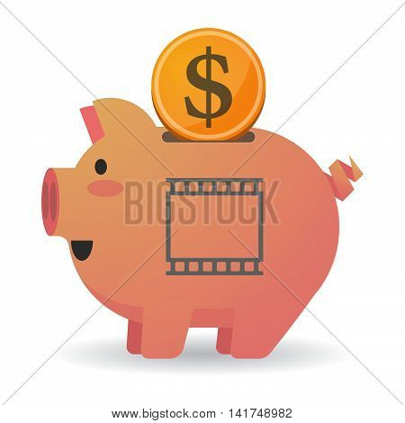 Isolated  Piggy Bank Icin With   A Photographic 35Mm Film Strip