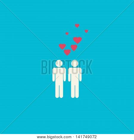 Simple gay graphic with two male figures and pink hearts on blue background.