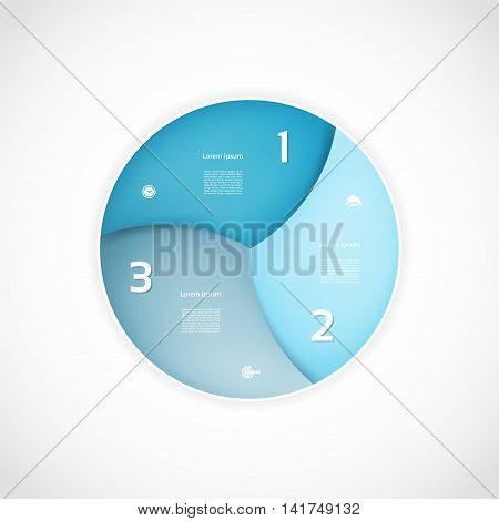 Vector infographic circle. Template for graph cycling diagram round chart workflow layout number options web design. 3 steps parts options stages business concept