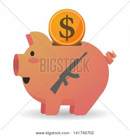Isolated  Piggy Bank Icin With  A Machine Gun Sign