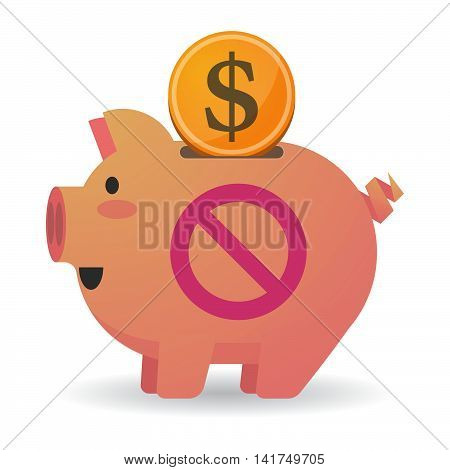 Isolated  Piggy Bank Icin With  A Forbidden Sign