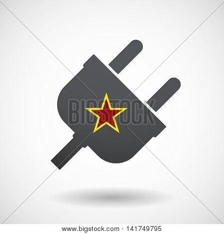 Isolated Male Plug With  The Red Star Of Communism Icon