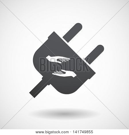 Isolated Male Plug With  Two Hands Giving And Receiving  Or Protecting