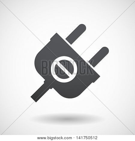 Isolated Male Plug With  A Forbidden Sign