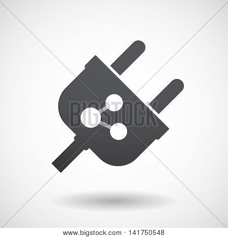 Isolated Male Plug With  A Network Sign