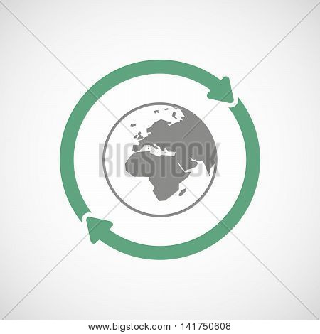 Isolated Reuse Icon With   An Asia, Africa And Europe Regions World Globe