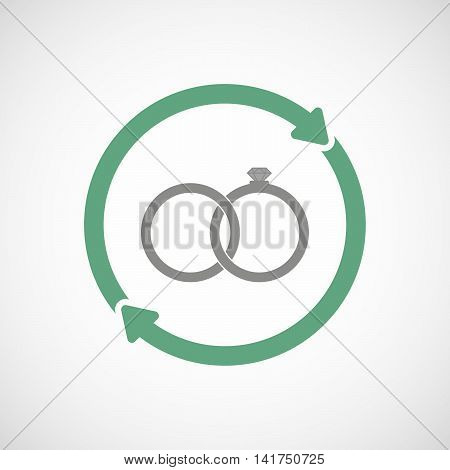 Isolated Reuse Icon With  Two Bonded Wedding Rings