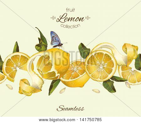 Vector lemon seamless horizontal border. Design for tea, ice cream, jam, natural cosmetics, candy and bakery with lemon filling, health care products, perfume. Best for packaging design.