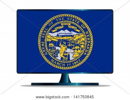 A TV or computer screen with the Nebraska state flag