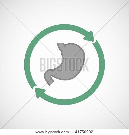 Isolated Reuse Icon With  A Healthy Human Stomach Icon
