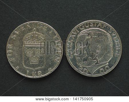 1 Swedish Krona (sek) Coin, Currency Of Sweden (se)