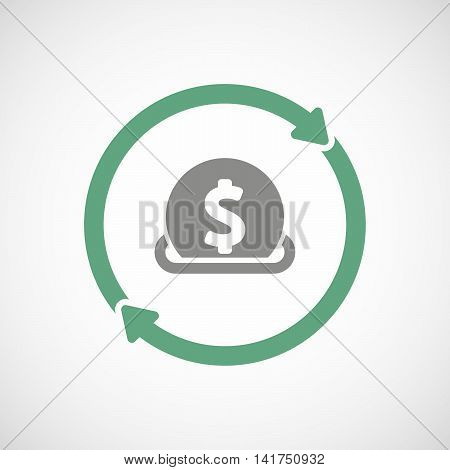 Isolated Reuse Icon With  A Dollar Coin Entering In A Moneybox