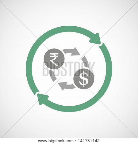 Isolated Reuse Icon With  A Rupee And Dollar Exchange Sign