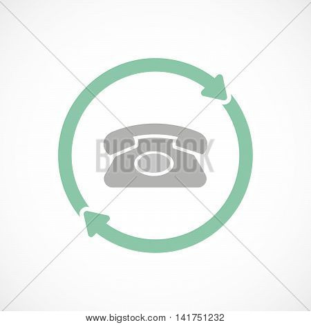 Isolated Reuse Icon With  A Retro Telephone Sign