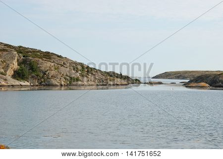 Swedish west coast, bare rock by the ocean