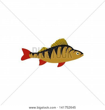 Perch fish icon in flat style on a white background