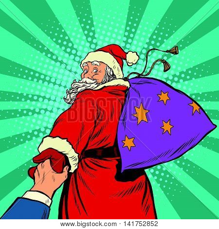 follow me, Santa Claus with gifts New year Christmas, pop art retro vector illustration. The holidays and the magic
