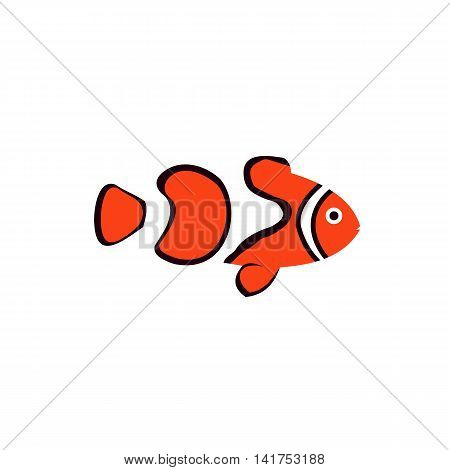 Clown fish icon in flat style on a white background